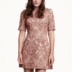 H&M Floral Brocade Rose Gold Dress Sz 8